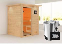 Karibu Sauna Sandra, 3,6 kW, mit Kranz, naturbelassen, Bio externe Steuerung
