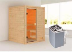 Karibu Sauna Sandra, 9 kW, naturbelassen, integrierte Steuerung