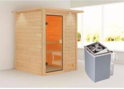 Karibu Sauna Sandra, 9 kW mit Kranz, naturbelassen, integrierte Steuerung