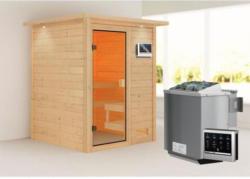 Karibu Sauna Sandra, 9 kW mit Kranz, naturbelassen, Bio externe Steuerung