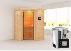 Karibu Sauna Antonia, 3,6 kW mit Kranz, naturbelassen, Bio externe Steuerung
