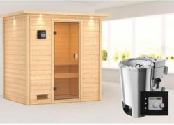 Karibu Sauna Selena, 3,6 kW mit Kranz, naturbelassen, Bio externe Steuerung