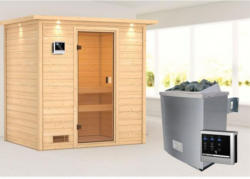 Karibu Sauna Selena, 9 kW mit Kranz, naturbelassen, externe Steuerung