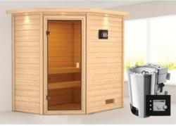 Karibu Sauna Jella, 3,6 kW mit Kranz, naturbelassen, Bio externe Steuerung