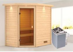 Karibu Sauna Jella, 9 kW mit Kranz, naturbelassen, integrierte Steuerung