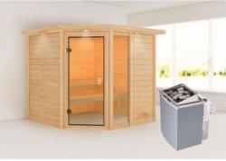Karibu Sauna Tabea, mit Kranz, naturbelassen, integrierte Steuerung