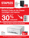 Staples 30% Rabatt - bis 21.09.2019