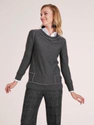 heine STYLE Pullover Mit Ripsband und Nieten