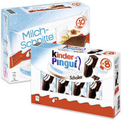 kinder Pingui 8 x 30 = 240 g oder Milch-Schnitte 10 x 28 = 280 g, jede Packung