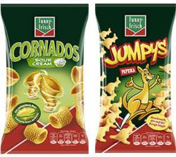 Funny Frisch Frit Sticks ungarisch, Paprika Ecken,  Jumpys, Ringli oder Cornados jeder 75/80/100-g-Beutel