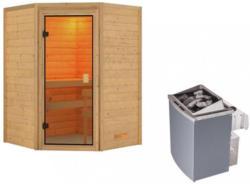 Sauna Bordeaux mit interner Steuerung am Ofen Naturfarben