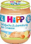 dm-drogerie markt Hipp Zubereitung Wildlachs mit Gemüse nach dem 4. Monat