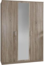 Drehtürenschrank mit Spiegel 135cm Osaka, Sägerau Dekor
