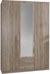 Drehtürenschrank mit Spiegel, 135cm Osaka, Sägerau Dekor