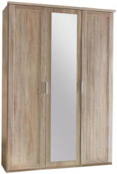 Drehtürenschrank mit Spiegel 135cm Nadja, Sägerau Dekor