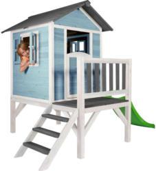 Stelzenspielhaus Holz mit Rutsche Blau/Weiß Sunny Lodge