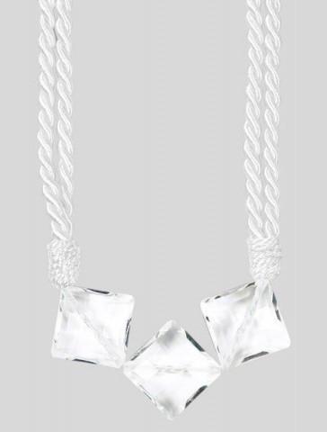 Raffhalter mit Rautenperlen, ca. 65 cm, weiß