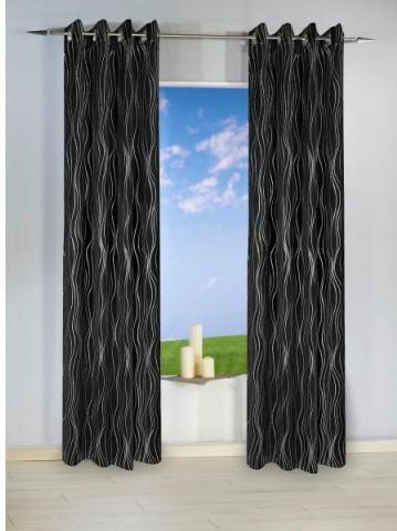 Ösen-Dekoschal Monaco VD, schwarz-silber, ca. 135 x 245 cm
