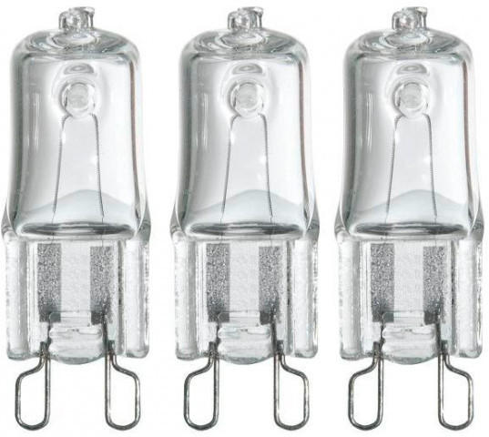 Halogen-Stiftsockellampe 3er-Pack G9 28 Watt dimmbar