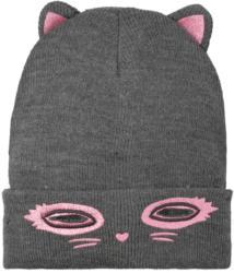 Mädchen Strickmütze mit Katzen-Motiv