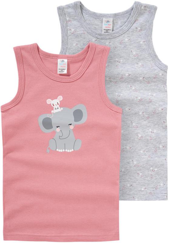 2 Baby Unterhemden mit Elefanten-Print