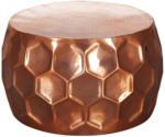 Möbelix Runder Couchtisch Metall mit Ablage Honeycomb, Kupferfarben