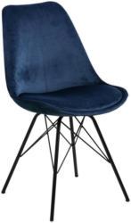 Stuhl in Metall, Textil Dunkelblau