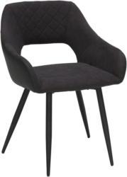 Stuhl in Metall, Textil Anthrazit, Schwarz