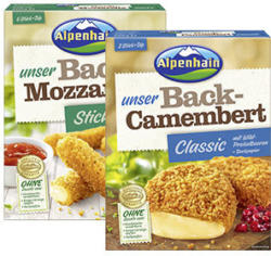 Alpenhain Back-Camembert oder Back-Mozzarella Sticks 45/40 % Fett i. Tr.  jede 200-g-Packung