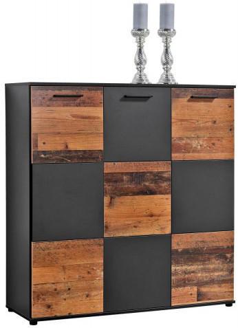 Kommode Zero anthrazit/Old Wood Nachbildung, 3türig ca. 120 cm hoch