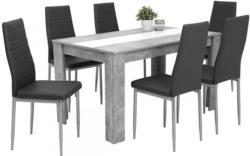7-teilige Tischgruppe Mareike Beton Optik/ grau