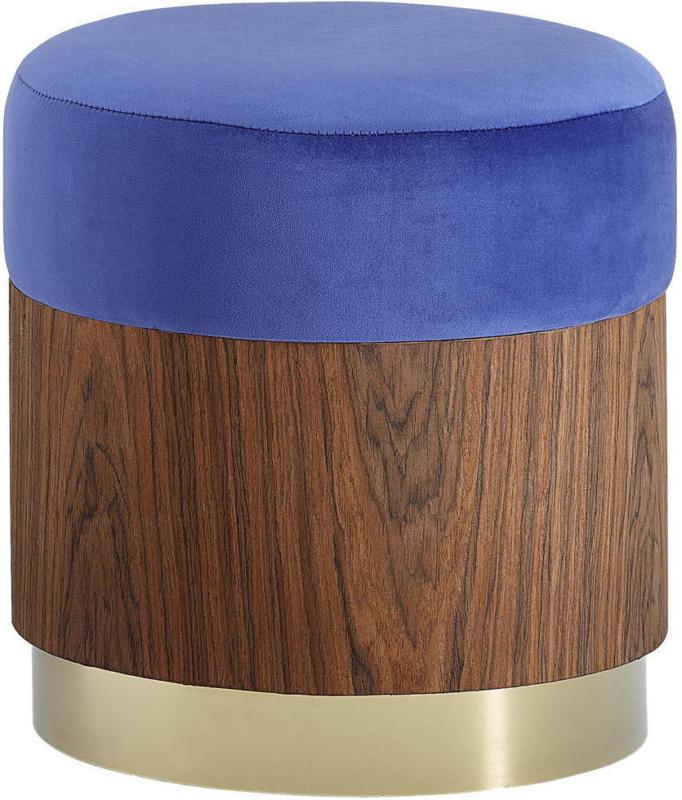 Hocker in Metall, Textil, Holzwerkstoff Blau, Goldfarben, Walnussfarben
