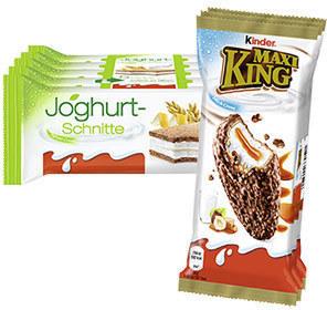 Kinder Maxi King 3 x 35 g = 105 g oder Joghurt-Schnitte 5 x 28 g = 140 g, jede Packung