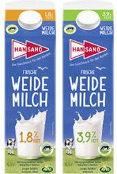 Hansano Weidemilch 3,9/1,8% Fett jede 1-Liter-Packung