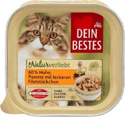 Dein Bestes Naturverliebt, Nassfutter für Katzen, mit 60% Huhn, Pastete mit leckeren Filetstückchen