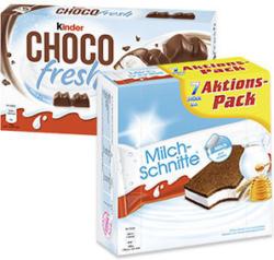Milchschnitte 7 x 28 = 196 g oder Kinder Choco fresh 5 x 20,5 = 102,5 g, jede Packung