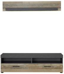 TV-Lowboard + Wandboard Opus, Old-Wood-Nachbildung hell/Matera