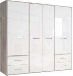 Kleiderschrank Jandia Sandeiche Nachbildung/Hochglanz Weiß, 208,9 cm