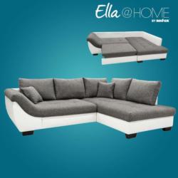 Ella@HOME Ecksofa - weiß-anthrazit - Liegefunktion - Armlehne links