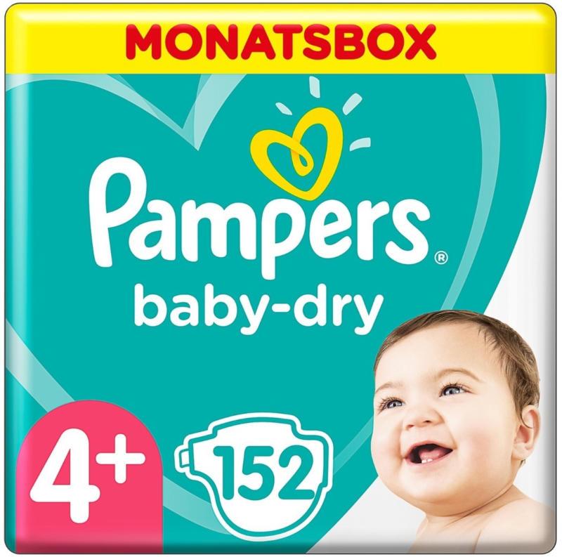 Pampers Baby Dry Gr. 4+, 10-15 kg, Monatsbox, 152 Windeln -