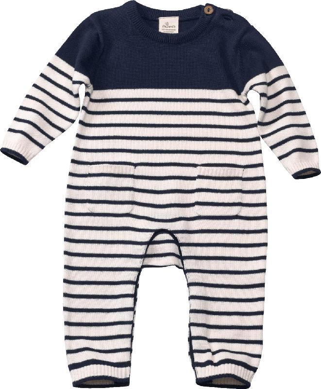 ALANA Baby Overall, Gr. 62, in Bio-Baumwolle, blau, weiß, für Mädchen und Jungen