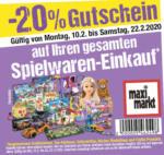 Maximarkt -20% Gutschein auf Ihren gesamten Spielwaren-Einkauf - bis 22.02.2020