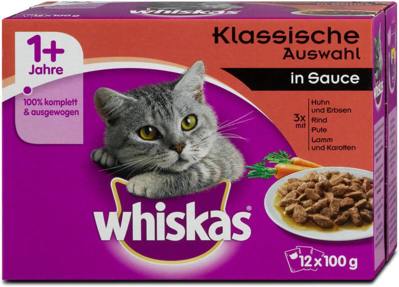 whiskas 1+ Jahre Katzenfutter Klassische Auswahl in Sauce