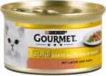 dm Gourmet Gold Zarte Häppchen in Sauce Katzenfutter mit Lachs & Huhn