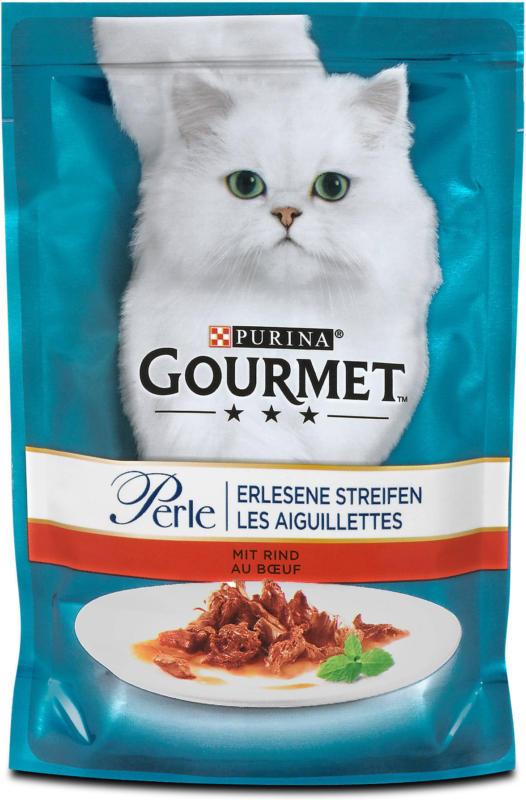 Gourmet Perle Erlesene Streifen Katzenfutter mit Rind