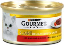Gourmet Gold Delikatesse in Sauce Katzenfutter mit Rind & Huhn