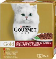 Gourmet Gold Katzenfutter Zarte Häppchen in Sauce, 8 x 85 g
