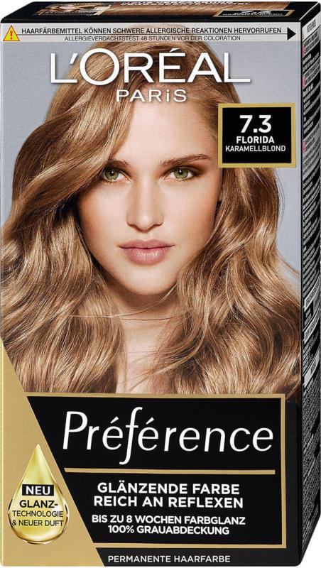 L'Oréal Préférence Permanente Haarfarbe - Nr. 7.3 Florida Karamellblond