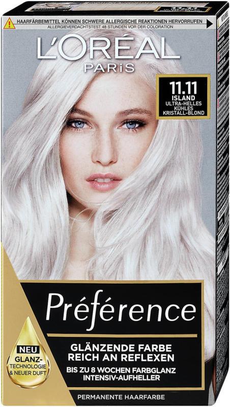 L'Oréal Préférence Permanente Haarfarbe - Nr. 11.11 Island Ultra-helles kühles Kristall-Blond