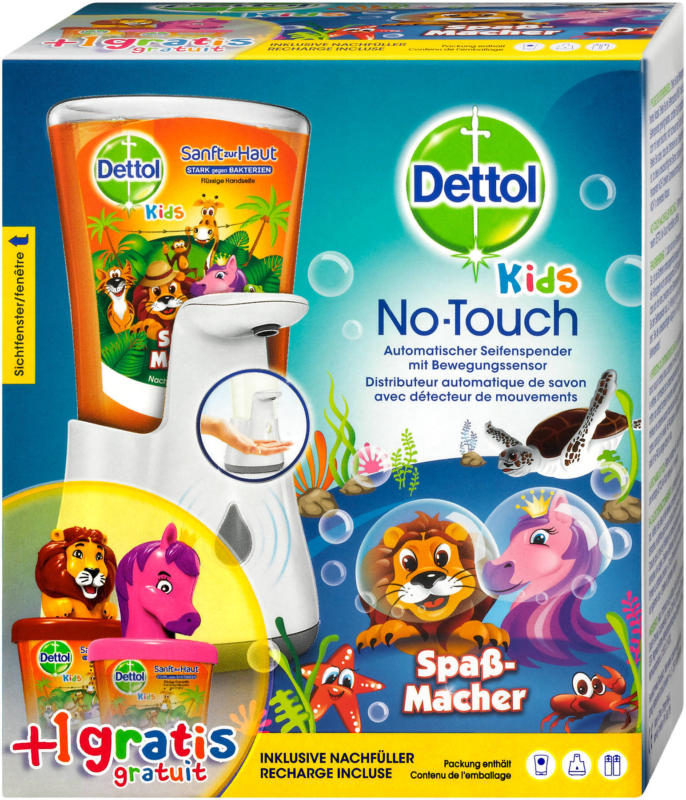 Dettol No-Touch Kids mit Nachfüller und Tieraufsatz sort.